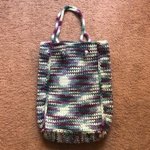 hand-knitted small tote bag, green and teal